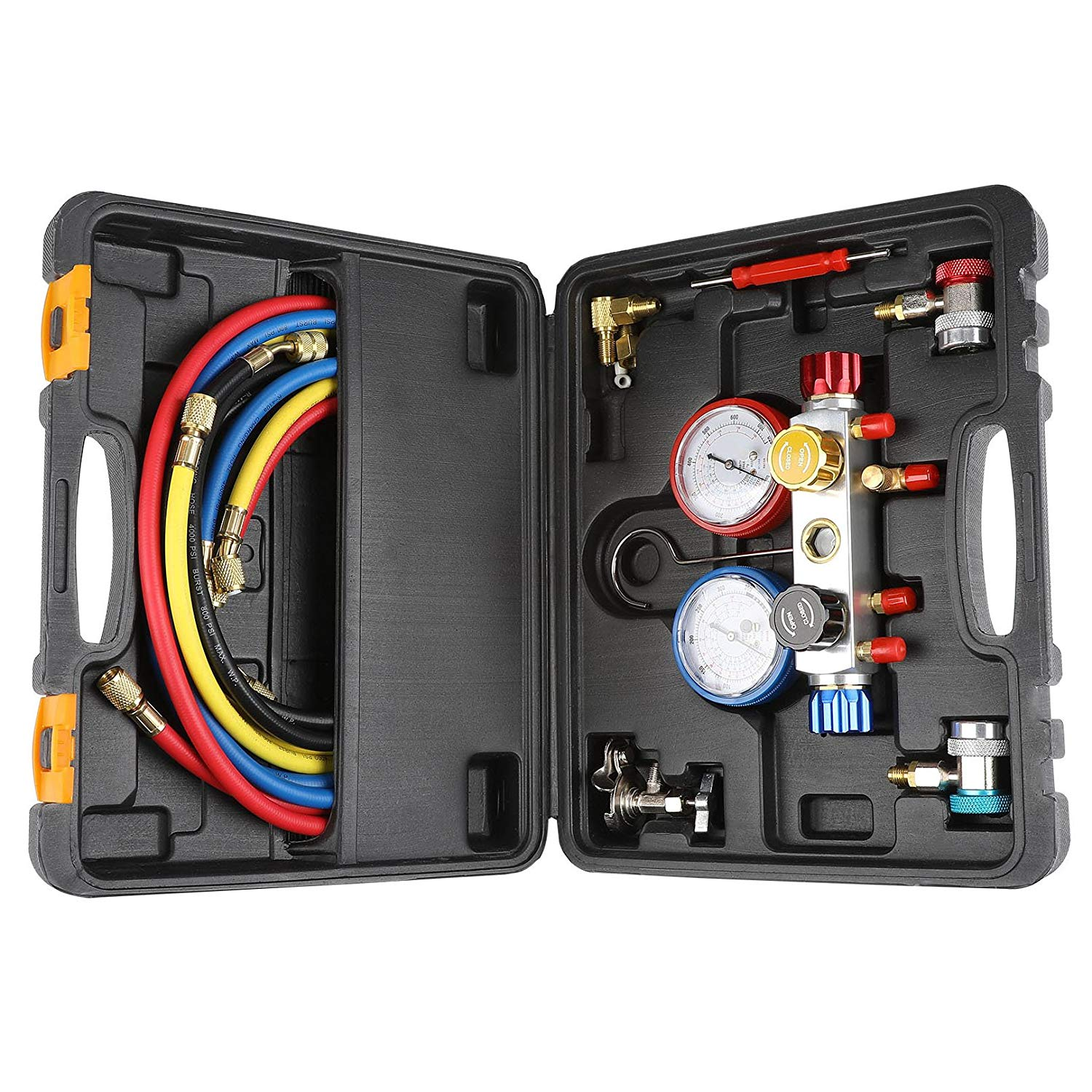 4 Way AC Diagnostic Manifold Gauge Set for Freon Charging and Vacuum Pump Evacuation, Fits R134A R410A and R22 Refrigerants, with 5FT Hose, 3 ACME Tank.