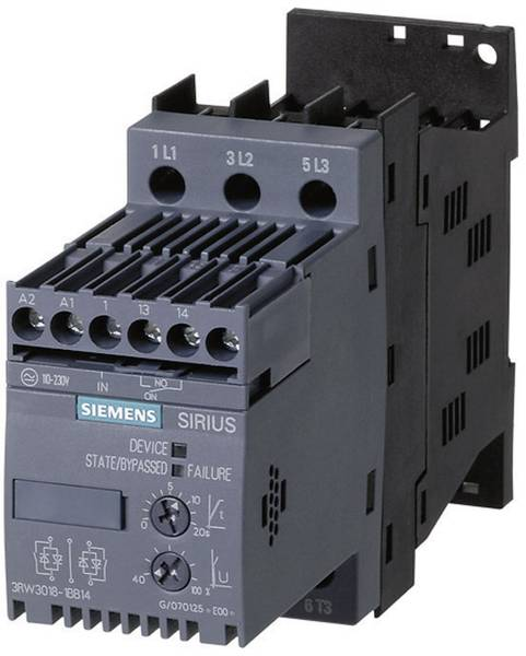 Soft starter Siemens 3RW3014 Motor power at 400 V 3.0 kW Motor power at 230 V 1.5 kW 400 V AC Nominal current 6 A
