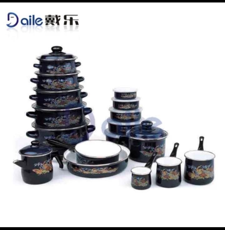 24pcs porcelain enamel dinner set cookware