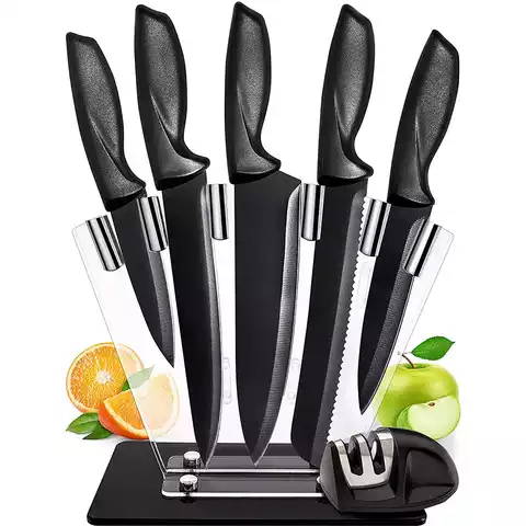 Bass Stainess Stee Knife Set With Rotating Stand -