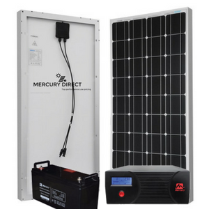 COMPLETE SOLAR SYSTEM / MERCURY 1.2KVA INVERTER,100AH DEEP CYCLE BATTERY AND PANELS