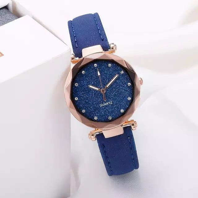 Casual Women Romantic Starry Sky Wrist Watch Leather Rhinestone Designer Ladies Clock