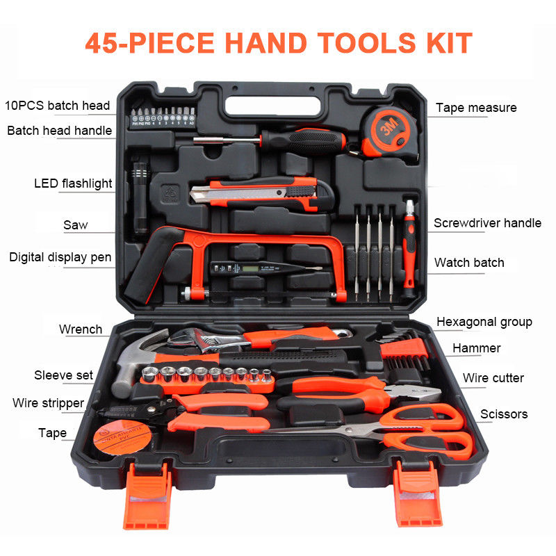 45 Pcs Home Repair Maintain DIY Household Hand Tool Kit Set Case Mechanics Box