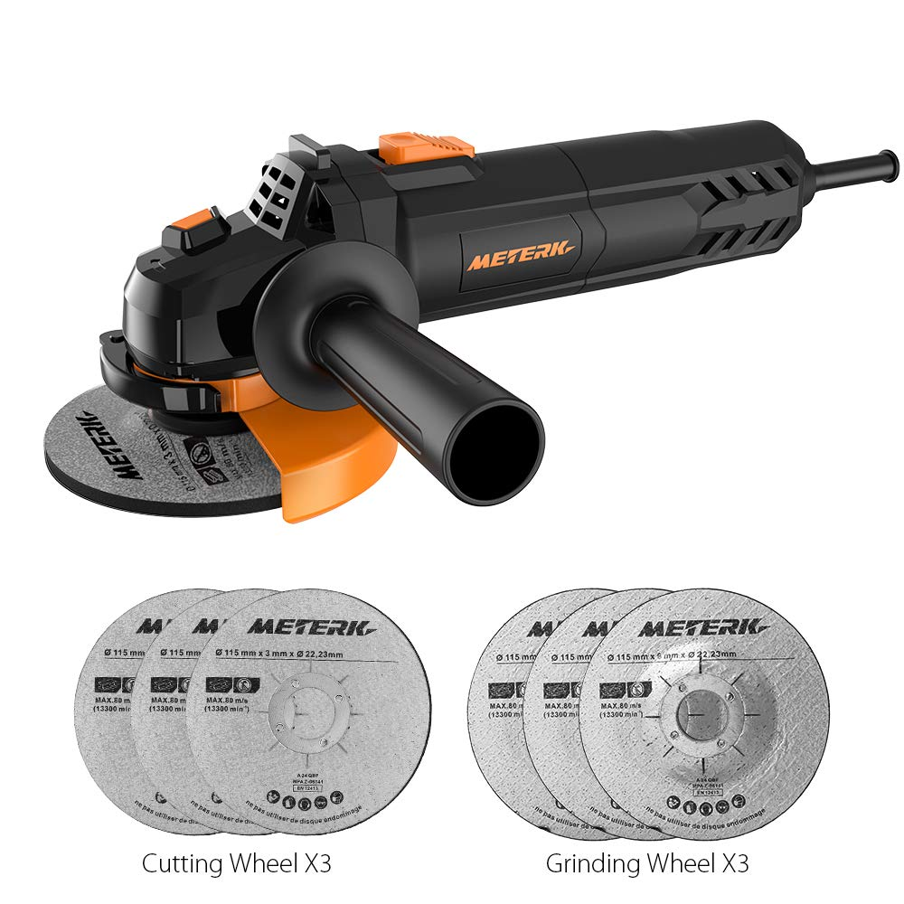 Meterk Electric Angle Grinder 6A 4-1/2inch with 115mm