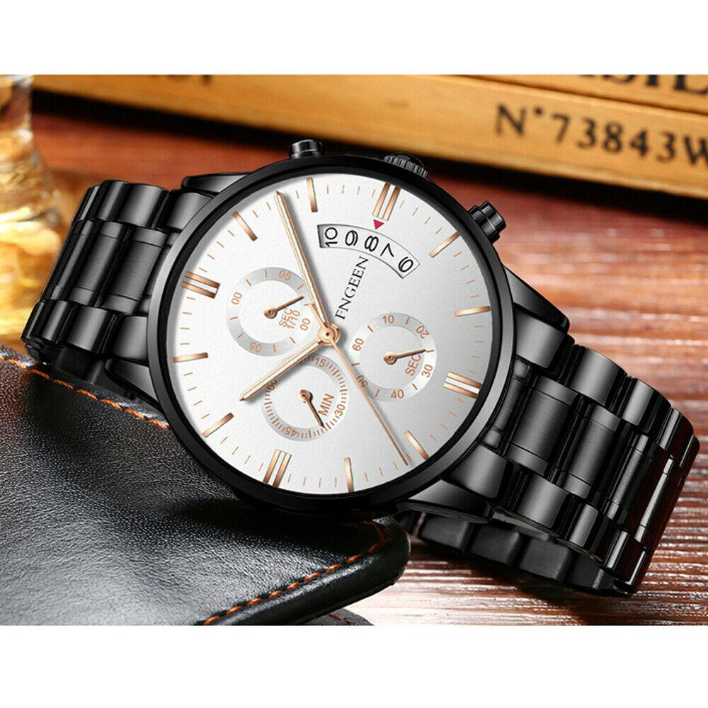 Men Stainless Steel Military Army Analog Sport Quartz Wrist Watch