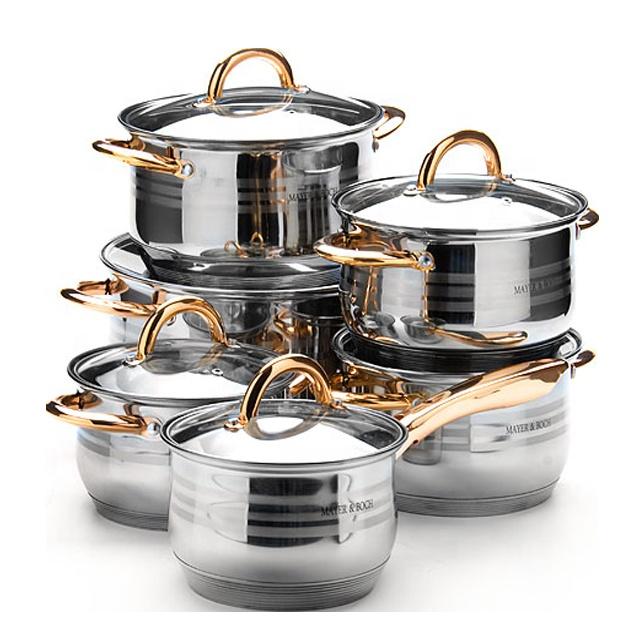 12pcs Stainless Steel thomas inox cookware set inox cooking pot