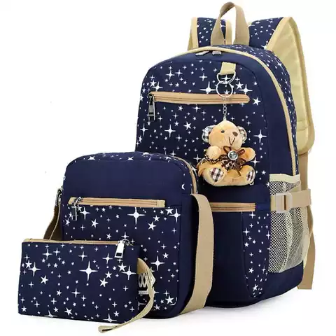 4pcs set canvas school backpack