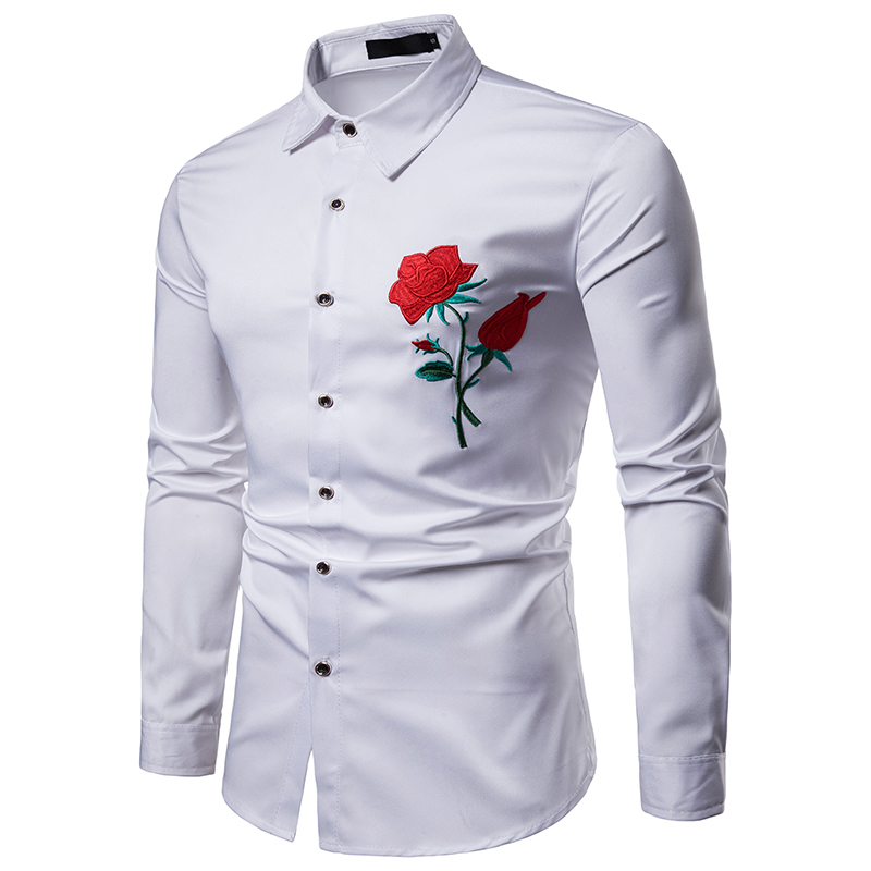 casual mens long sleeve embroidered flower pattern white fitness shirt