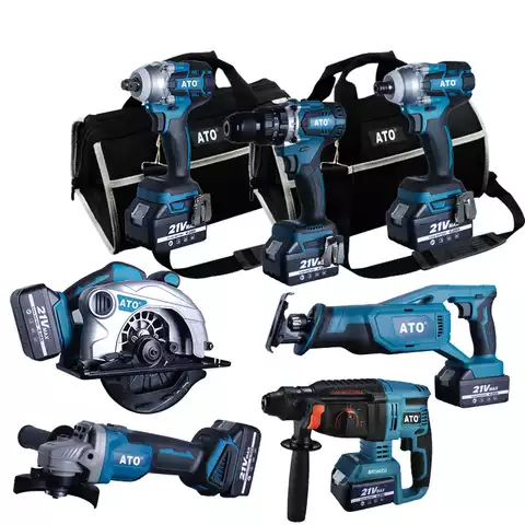 ATO CB2007 Seven in One Battery Brushless 4.0AH Cordless Impact Drill Wrench Saw Angle Grinder 18v 21v Combo Kit Tools Set