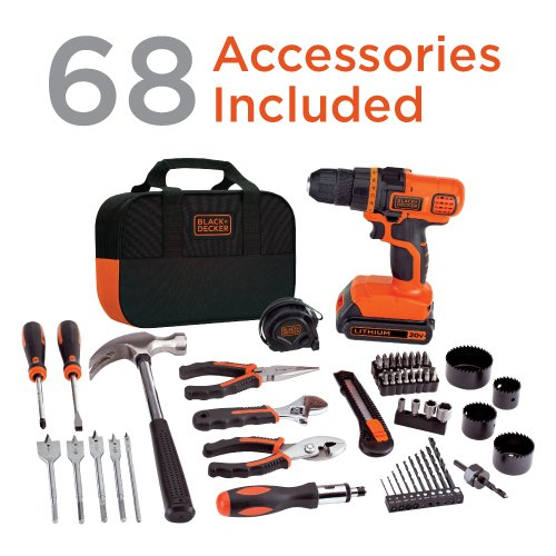 Honjek 20V MAX Drill & Home Tool Kit, 68 Piece (LDX120PK)