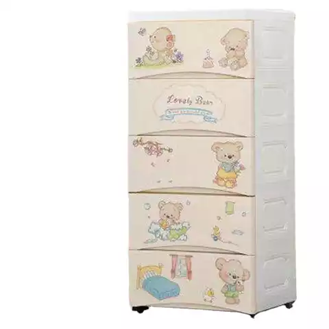 Cute cartoon printing clothes storage 5-tier plastic storage drawer for baby