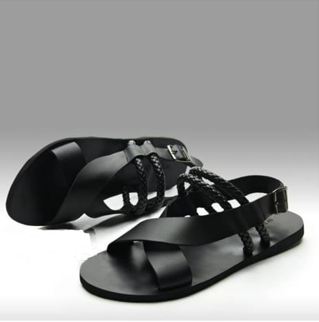 K-Choc Black Leather Sandals