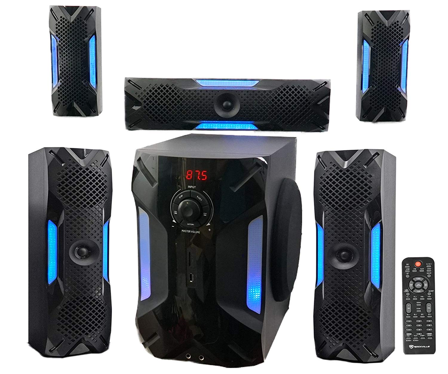 Rockville HTS56 1000w 5.1 Channel Home Theater System/Bluetooth/USB+8