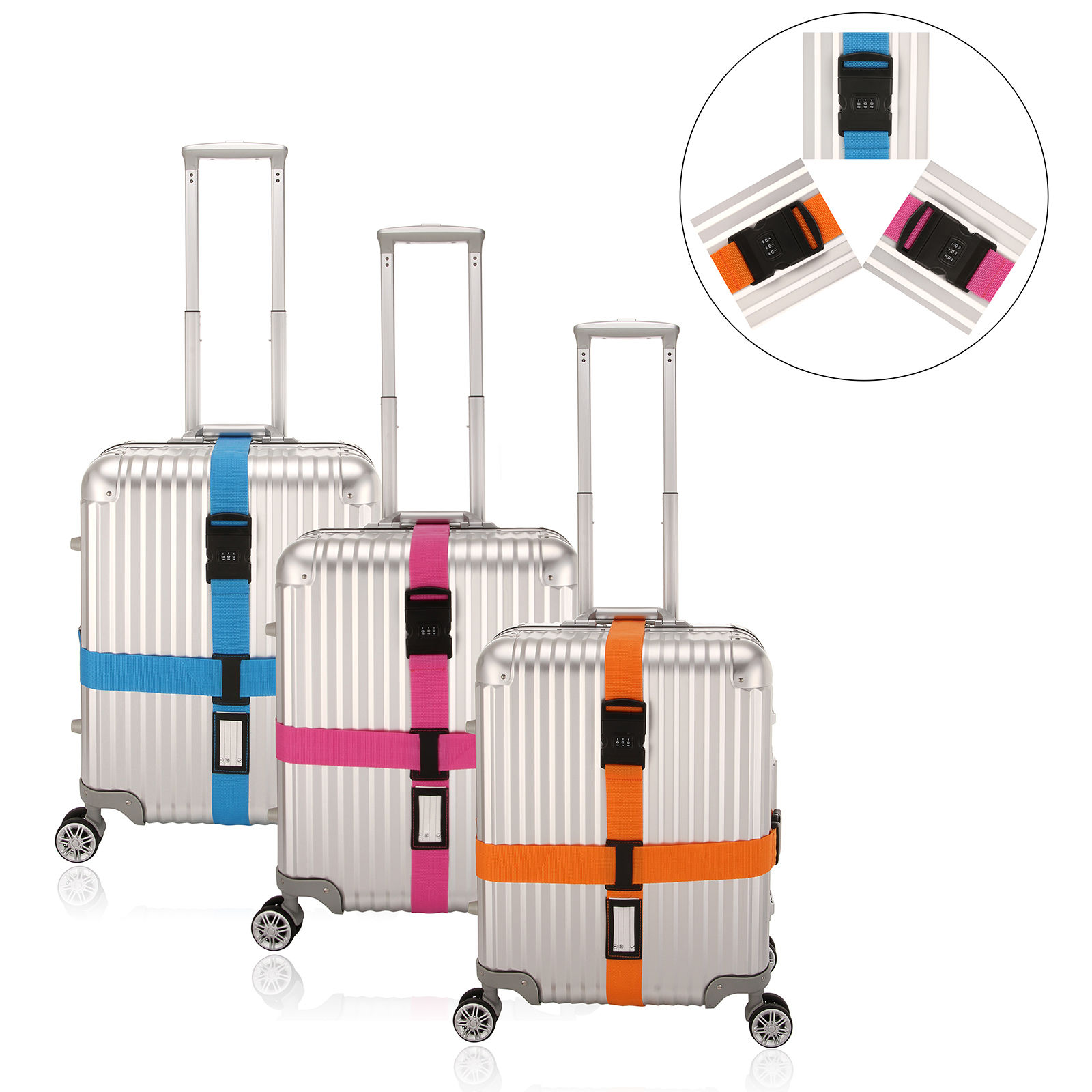 Adjustable Luggage Suitcase Cross Strap Belt With Digital Code Lock + Tag