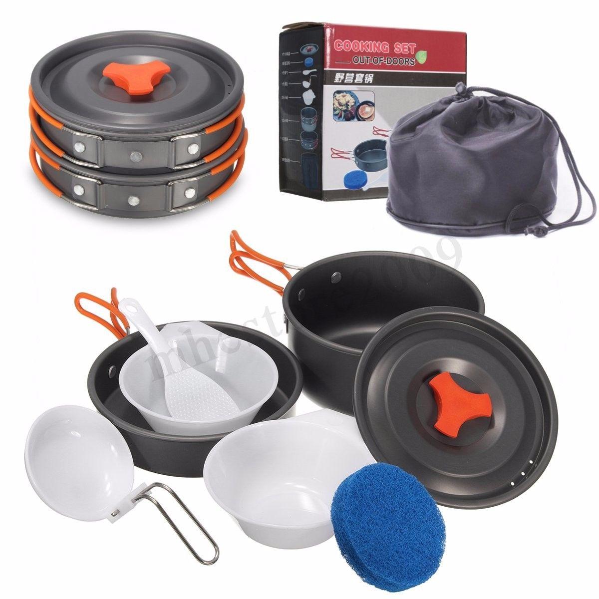 8pcs Outdoor Camping Hiking Cookware Backpacking Cooking Picnic Bowl Pot Pan Set