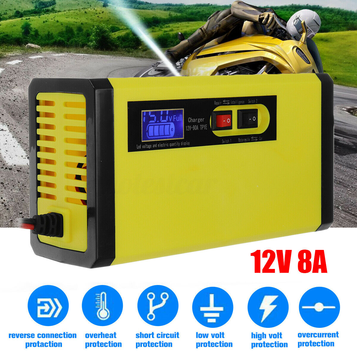 12V 8A Car Battery Charger Smart Intelligent Pulse Repair LCD Display Lead Acid
