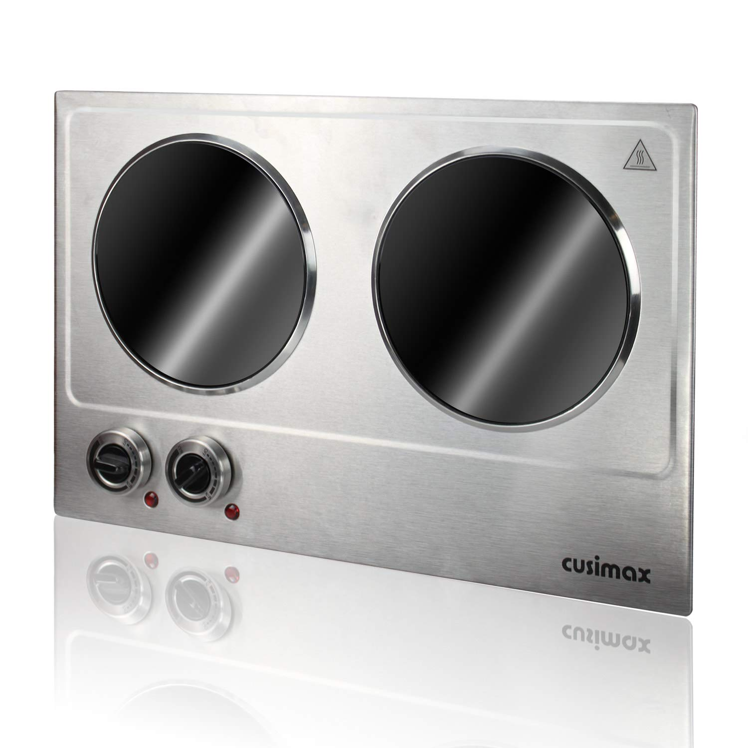 AZ CK2 Cusimax 1800W Infrared Cooktop, Ceramic Double Countertop Burner, Electric Hot Plate for Cooking, Dual Temperature Control, CMIP-C180, Stainless Steel