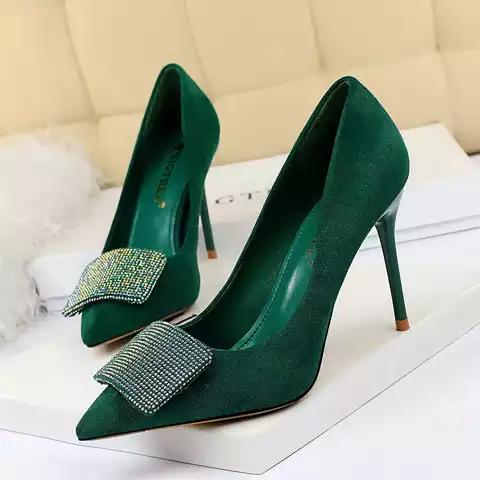 European 34-43 Fashion Women Pumps shoes Dress Rhinestone Flock Pointed Toe Thin Heel9cm woman pump Fashion Office shoe