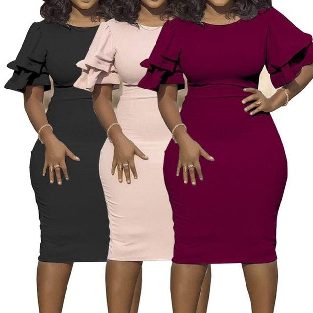 hot short ruffle sleeve solid bodycon casual 2020 Fashion Dress Plus Size Women Clothing
