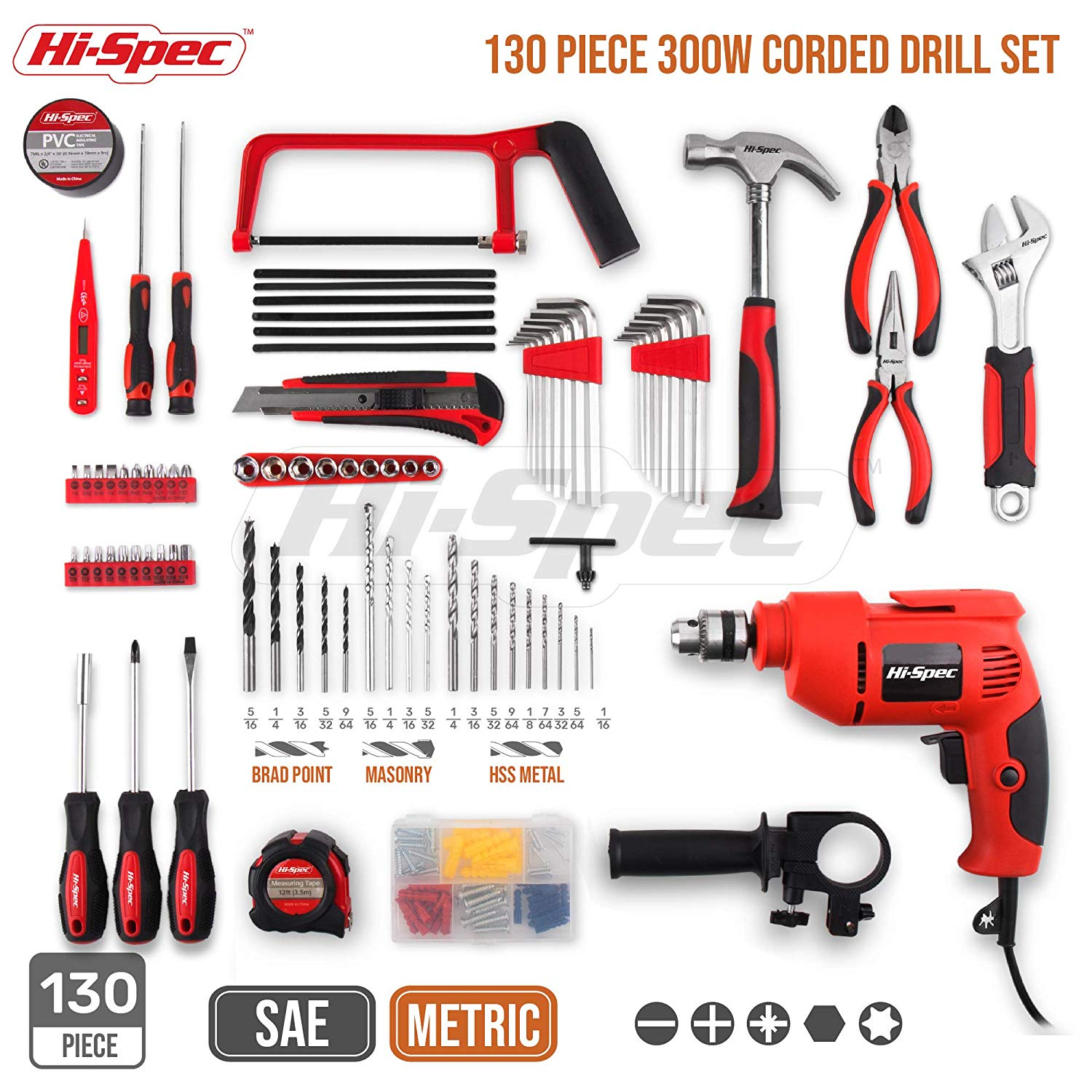 Hand Tool Set Combo Kit in Storage Case