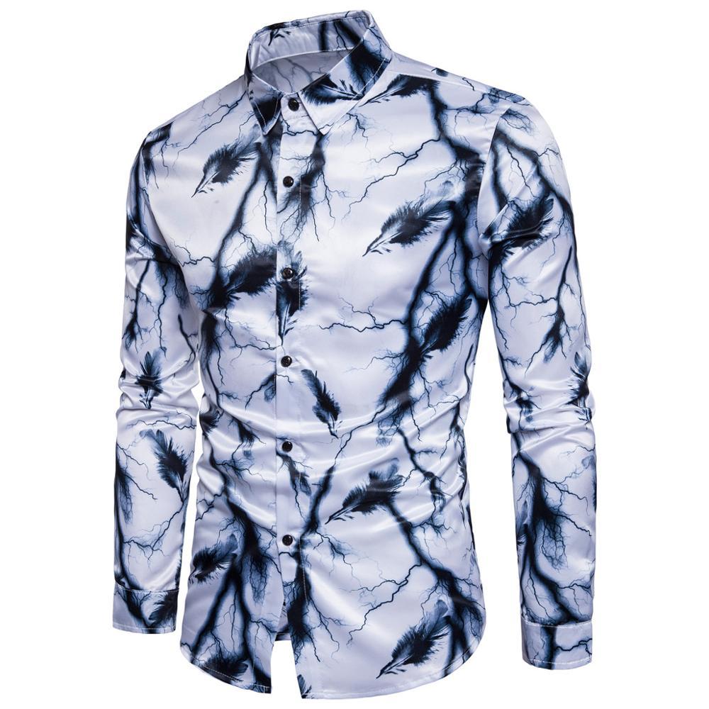 casual printed long sleeve broadcloth men shirt