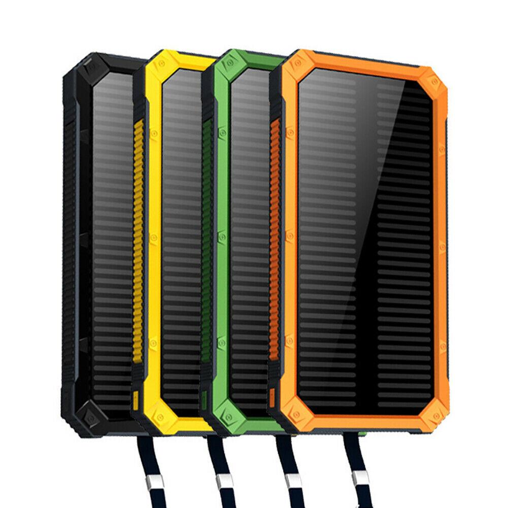 DIY Case Solar Power Bank 2USB LED External Battery Pack Charger 300000mAh