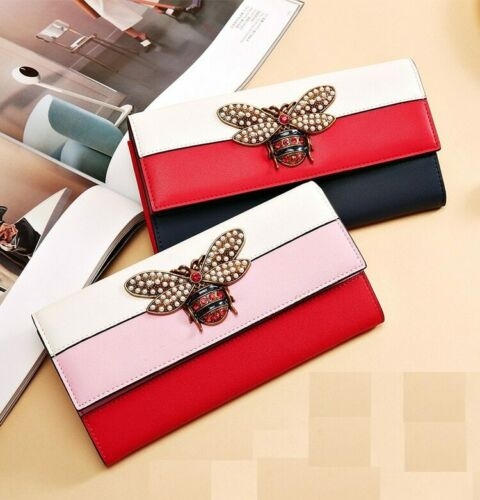 Women Designer Genuine Leather Wallet Famous Brands Bee Purse Ladies Long