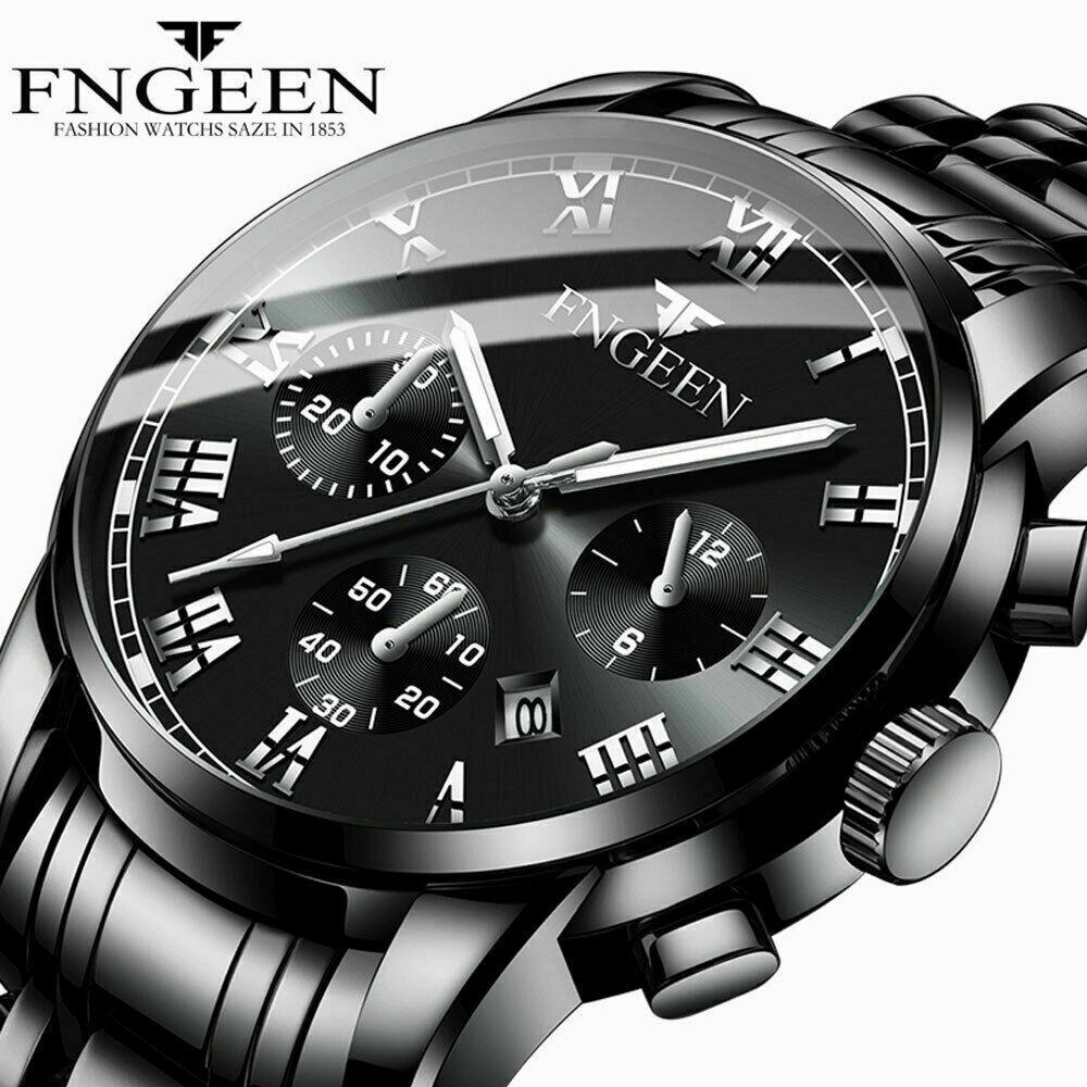 Men  Stainless Steel  Analog Sport Quartz Wrist Watch