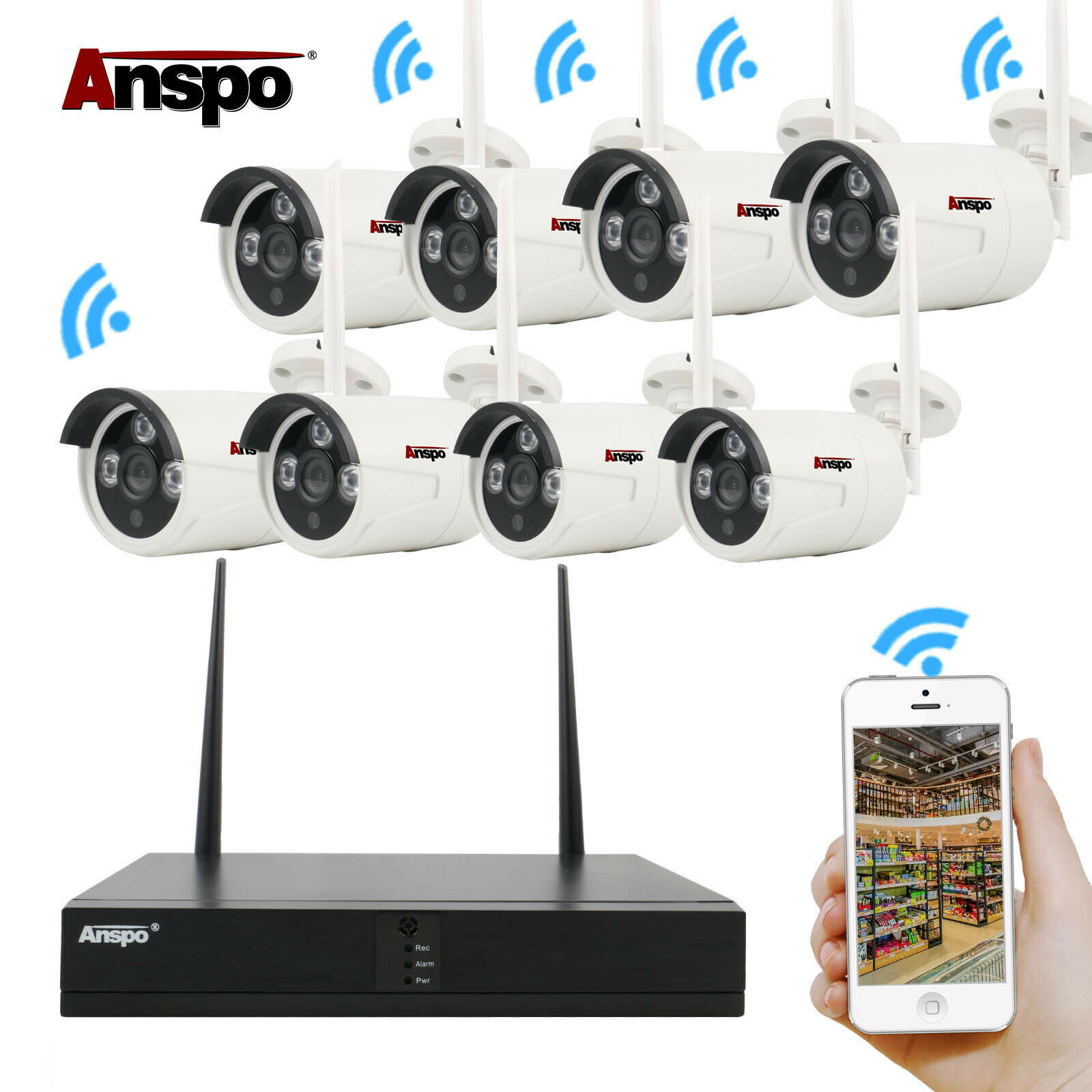 8CH 1080P Full HD Wireless NVR Wifi Network IP Camera Home Security System