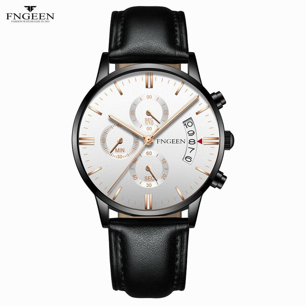 Men Luxury Fashion Leather Military Army Analog Sport Quartz Wrist Watch