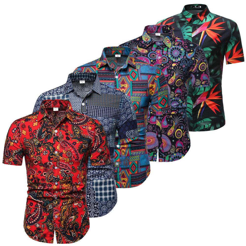 Luxury Men's Slim Fit Shirt Short Sleeve Stylish Formal Casual T-shirt Tee Tops