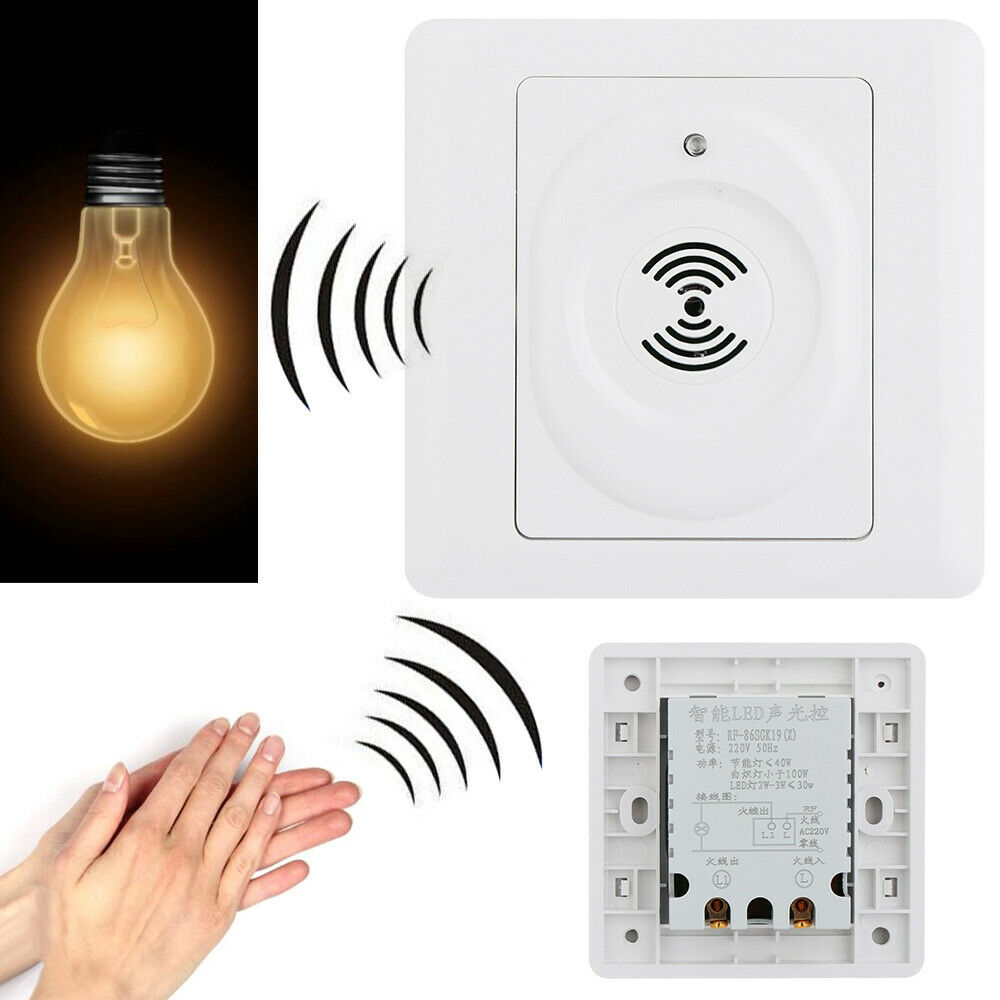 Wall Mount Home Delay Light Sensor Sound Activated Lamp Switch Voice Control