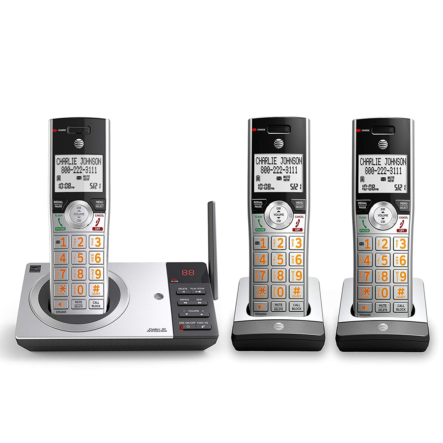 AT&T CL82307 DECT 6.0 Expandable Cordless Phone with Answering System & Smart Call Blocker, Silver/Black with 3 Handsets