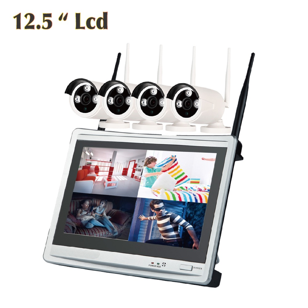 Wi-Fi Camera with LCD screen Monitor 4CH wireless NVR Combo waterproof outdoor home CCTV