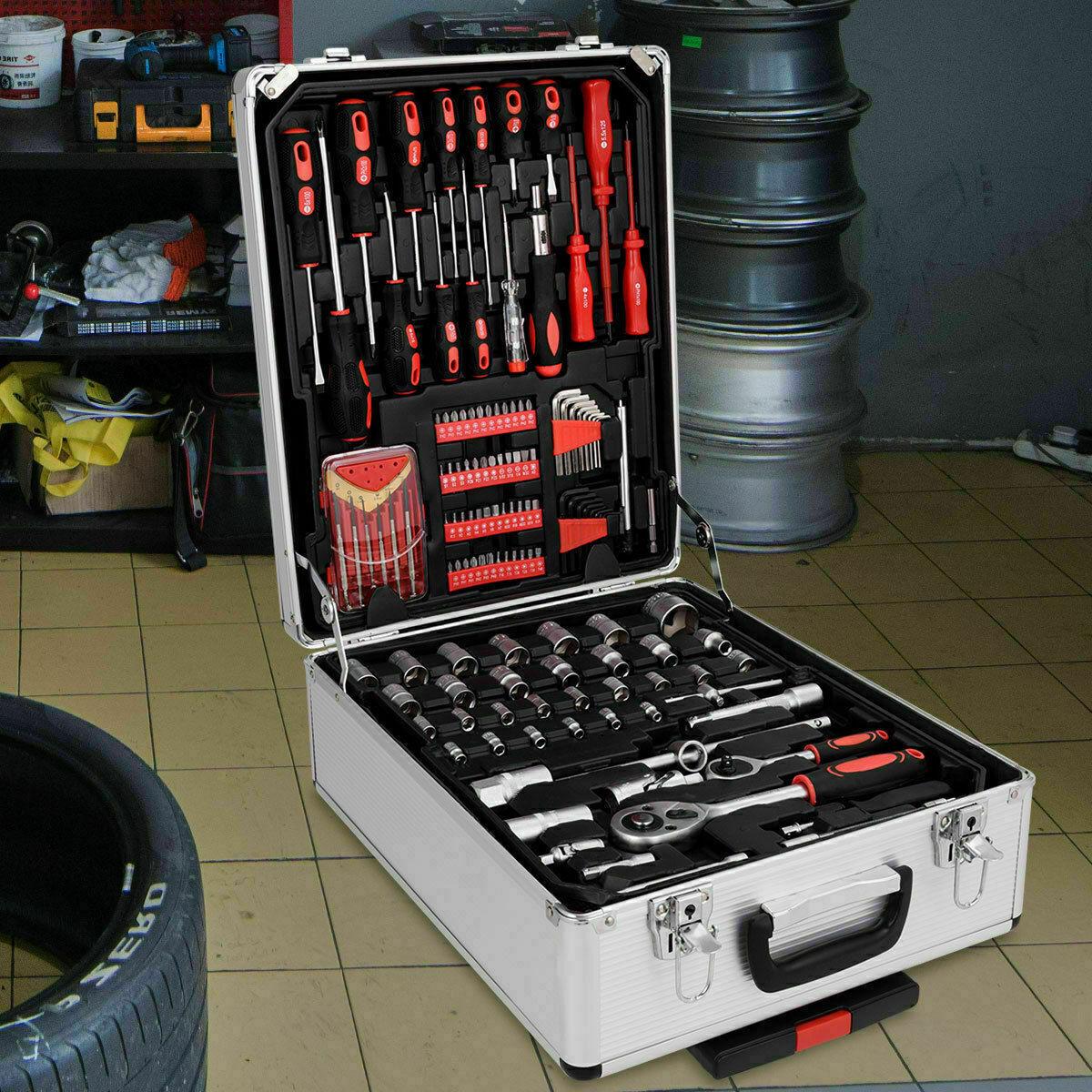 585 PCS Hand Tool Set Mechanics Kit Wrenches Socket Toolbox Trolley Case Castors