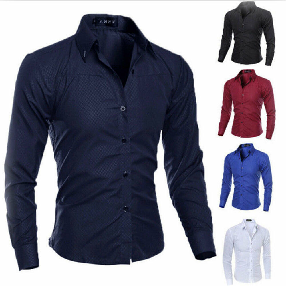 New Fashion Mens Luxury Casual Stylish Slim Fit Long Sleeve Casual Dress Shirts