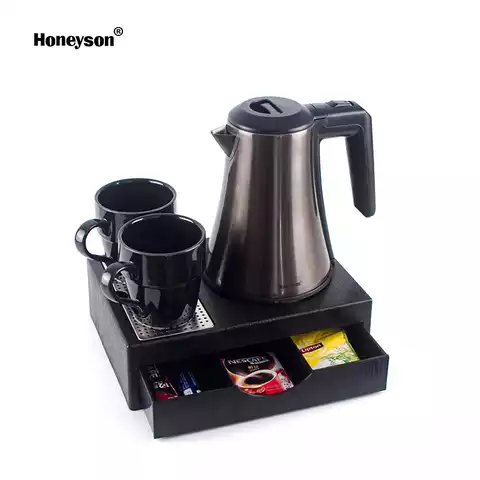 Honeyson hotel room 0.8L stainless electric kettle tea tray with drawer