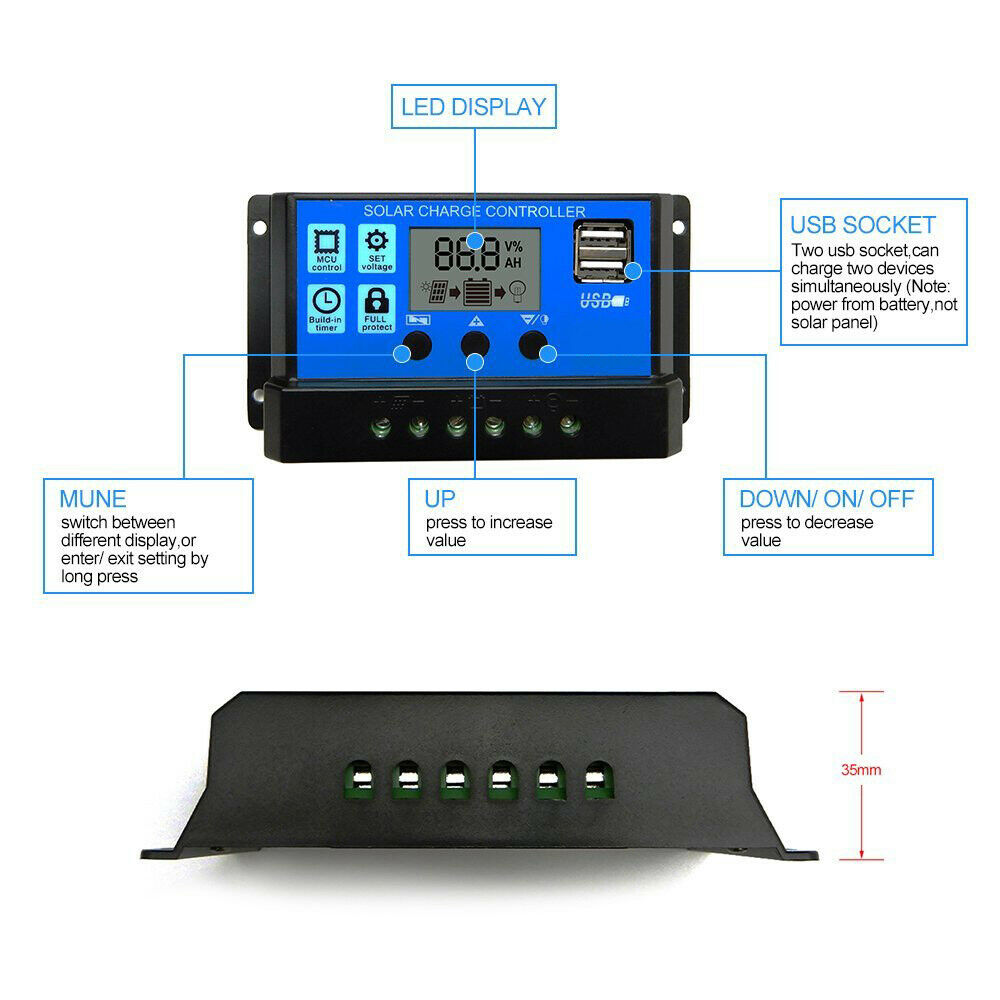 Solar Charge Controller LCD Panel Charger 5V 3A USB Output Regulator 3-stage PWM